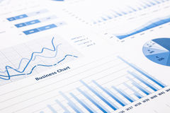 Blue business charts, graphs, statistic and reports Royalty Free Stock Images