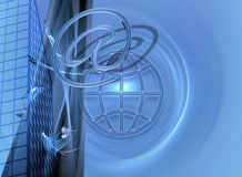 Blue business / e-commerce and Internet design. This design / image has a blue fractal background Royalty Free Stock Image