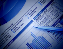 Blue Business Financial Chart Graph. A closeup of a business financial chart with bar and pie graphs. A pen is on top. Can be used to represent business expenses Stock Photography
