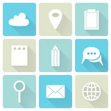 Blue business flat icons. Illustration of Blue business flat icons Stock Photo