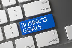 Blue Business Goals Key on Keyboard. 3D. Royalty Free Stock Photo