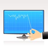 Blue business graph- Bankruptcy. Bankruptcy concept. Business graph showing financial report on computer display, vector illustration Royalty Free Stock Image