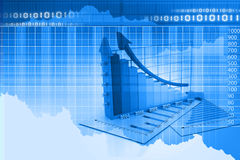 Blue business graph  chart Stock Photos