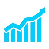 Blue Business graph and chart. Business graph and chart, simple vector icon Stock Photo
