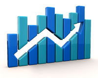 Blue business graph Stock Image