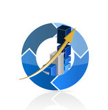 Blue Business Graph illustration design. Over a white background Royalty Free Stock Photo