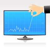 Blue business graph- profit. Business graph showing financial report of profit on computer display. Conceptual vector illustration