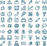 Blue business hand drawn doodles highligher icons Stock Photos