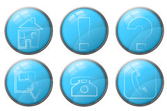 Blue business icons Stock Photos