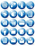 Blue business icons. Blue glossy business icon set Royalty Free Stock Photos