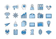 02 Blue BUSINESS icons set. Vector set of colored 24 linear light and dark blue icons. Successful business isolated pictographs. SEO, progress, documentation Vector Illustration