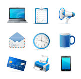 Blue business icons set. Vector Royalty Free Stock Image
