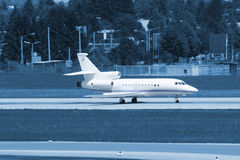 Blue business jet Royalty Free Stock Photos