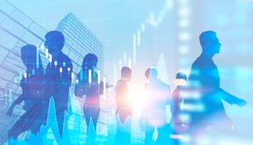 Blue business people silhouettes in city, graphs stock photos
