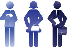 Blue business people silhouettes Stock Images