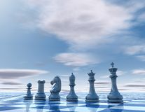 Blue business presentation template with chess. Royalty Free Stock Images