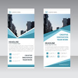 Blue Business Roll Up Banner flat design template ,Abstract Geometric banner Vector illustration Stock Photo