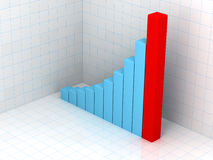 Blue business statistics. 3d business statistics in 3d background with reflection on floor Stock Photography