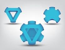 Blue business symbol abstract set Stock Photos