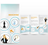 Brochure Layout Design. Blue business template with icons Vector Illustration