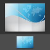 Blue business trifold template illustration Royalty Free Stock Image