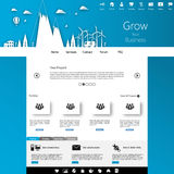 Blue business website template design with minimal land illustration Stock Photography