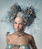 Blue butterflies. Portrait of a beautiful fairy with blue butterflies Stock Image
