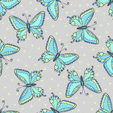 Blue butterflies seamless pattern on fashion grey color. Hand drawn butterfly vector illustration for fabric, wrapping Stock Photos
