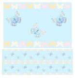 Blue butterflies seamless pattern Stock Photography