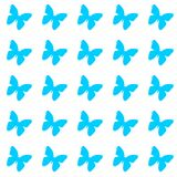 Blue butterflies on white background repetition cards backgrounds. Isolated repeat decoration pattern royalty free illustration