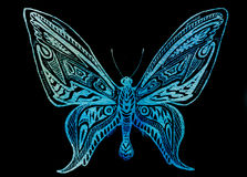 Blue butterfly. Graphic ornamental blue butterfly on black background Royalty Free Stock Photo