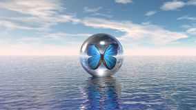 Blue butterfly. Ina a glass sphere Royalty Free Stock Photo