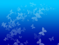 Blue Butterfly Background. Blue background with butterflies in a gradient royalty free illustration