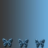 Blue butterfly background. A blue and black gradient background with three metallic butterflies along the bottom edge stock illustration