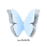 Blue butterfly cut out of paper. Royalty Free Stock Photography