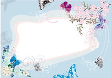 Blue butterfly and flower frame design Royalty Free Stock Images