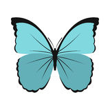 Blue butterfly icon in flat style Stock Photo