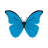 Blue butterfly icon in flat style Royalty Free Stock Photo