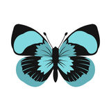 Blue butterfly icon in flat style Royalty Free Stock Image