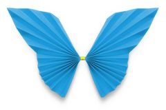 Blue butterfly of origami. On white background, included Clipping Path stock photography