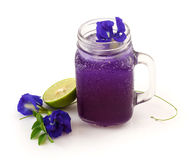 Blue butterfly pea juice with lemon Stock Photography