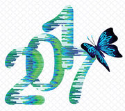 Blue butterfly sitting on the  figure of 2017. Blue butterfly sitting on the abstract figure of 2017 Royalty Free Stock Images