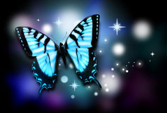 Blue Butterfly with Sparkles on Black Background. A blue butterfly is isolated on a black background with colorful sparkles around it Royalty Free Stock Photo