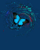 Blue butterfly with splash and swirls Stock Images