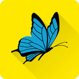 Blue butterfly. Vector flat icon. Butterfly icon in flat style with long shadow on yellow background. Vector illustration Stock Photos