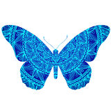 Blue butterfly. Vector illustration of Blue doodle butterfly Royalty Free Stock Images