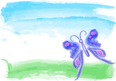 Blue butterfly  watercolor Royalty Free Stock Photos