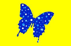 Blue butterfly on yellow background. Blue butterfly yellow background wildlife zoo logo nature cartoon character new shape concept drawing sign symbol idea top stock photos