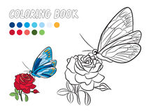 Blue butterfly with yellow dot wings, red rose coloring book page. Blue butterfly with yellow dot wings, red rose flower and green leaf  drawing coloring book Stock Photos