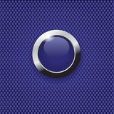 Blue button on carbon texture. Blue glass button isolated on a carbon background Stock Photography